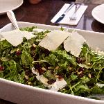 Fresh and tasty salad with shaved parmesan cheese