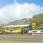 Located across the street from Romy's Shrimp Stand at 56-800 Kamehameha Hwy, Kahuku, HI 96731.