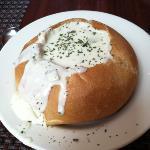 new england clam chowder in a bread bowl