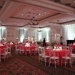 Ballroom set for reception