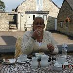 theres a patio in the courtyard to sit and have eats and drinks ,we had cream tea with scones.