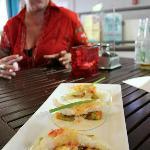 Fish Tacos: with an avocado mango salsa and Japanese Mayo.