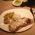 Crab Crusted Orange Roughy over garlic mashed potatoes