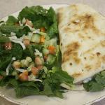 lunch homemade pita sandwich and salad