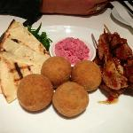 Entree Share Platter, Beetroot Dip, Mushroom risotto balls & satay chicken skewers