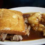 Hot Roast Beef sandwich with mashed potatoes
