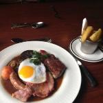 mixed grill with duck egg