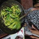Madhu cooking ladyfingers