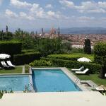 The pool area with the magnificent view of Florence beyond