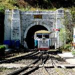Rail car coming out of Barog tunnel