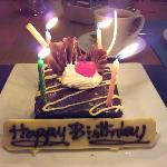 Birthday cake prepared by the restaurant