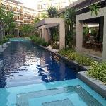 Pool view near restaurant