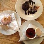 Damson Fool, Chocolate cake, and Creme Brûlée.