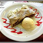 House Homemade strudel with ice cream to die for.....