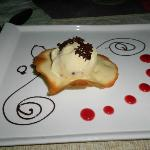 This was dessert!! It was this cookie and some kind of ice cream w/ raspberry swirl and chocolat