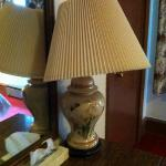 All lampshades were askew upon arrival...nice touch.
