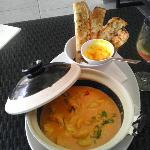 *Second Course Mooloolaba Prawns and Snapper Hot Pot with toasted Bread.