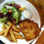 Halibut and chips with salad