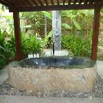 Outdoor stone bath and shower