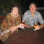 "JIm and I enjoying our nightly ""Fiji Bitter"""