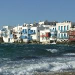 Mykonos town, rough sea normal this time of year