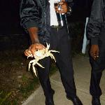 Security guards finding a crab