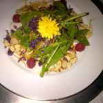 Almond Raspberry ◦Artisan lettuce topped with slivered almonds, fresh raspberries, and lemon zes