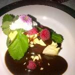 New York Vanilla Cheese Cake with Chocolate Raspberry Topping