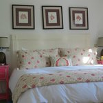 Master bedroom at Cape Pogue at Winnetu bedding was incredible