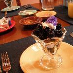 Blackberry Parfait with local blackberries and homemade hazelnut granola open this breakfast.