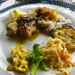 Delicious! Grouper, Jasmine Rice, Grilled Veggies, Curried Chix Salad