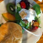 Kobe beef burger and salad