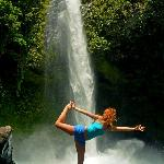 doing yoga at the Fortunas waterfall