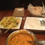 stuffed naan, fried pineapple curry rice and curry chicken