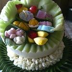 Sweets presented in a Melon carving