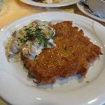 The famous schnitzel with mushroom source and all you can eat salad