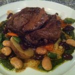 Slow roasted lamb with new potaoes, 3 bean salad & salsa verde