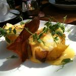 Eggs Benny, with prosciutto, and potatoes instead of muffin. beautiful, bland hollandaise