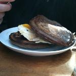 Breakfast sandwich with buckwheat pancakes. loved these!