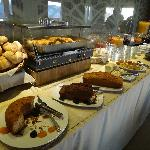 Selection of food at breakfast buffet