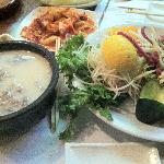 Oxbone soup and raw beef