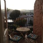 balcony overlooking the restaurant patio, nice and quiet in the morning