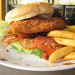 Chicken Schnitzel Burger with Chips