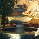 The fountain across from Starbucks in the lobby.