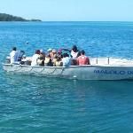 The kids club heading off to a glass bottom boat!