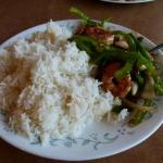 Stir fried shrimp and vegetables on steamed rice