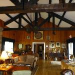 The great room upstairs with stone fireplace