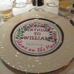 Birthday plate covering created by restaurant