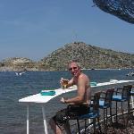 Bar on beach .Rabbit island in background