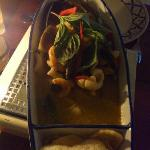 Mixed seafood in green curry